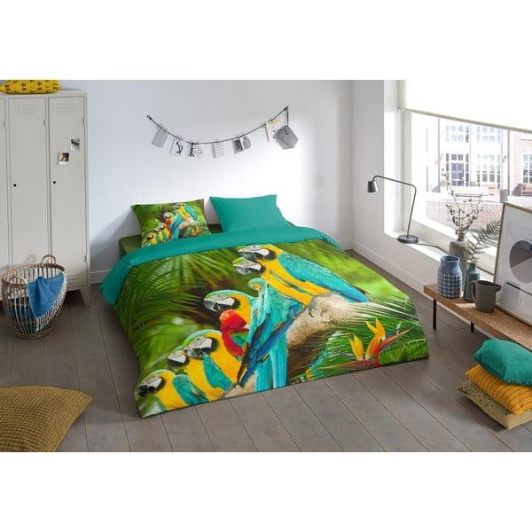 Povlečení na dvoulůžko z mikroperkálu Muller Textiels Green Jungle, 200 x 240 cm