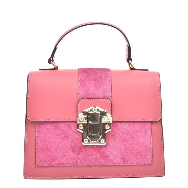 Ružová kožená kabelka Isabella Rhea, 22 x 27 cm