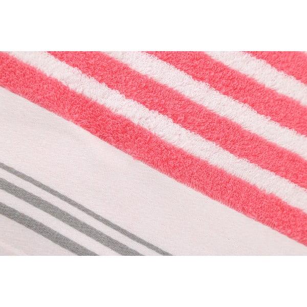 Růžovo-bílá bavlněná osuška BHCP Velvet, 80x150 cm