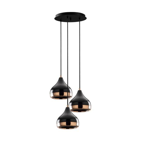 Czarna lampa wisząca z elementami w kolorze miedzi z 3 kloszami Opviq lights Yildo