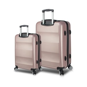 Sada 2 růžových cestovních kufrů na kolečkách s USB porty My Valice LASSO Cabin & Large