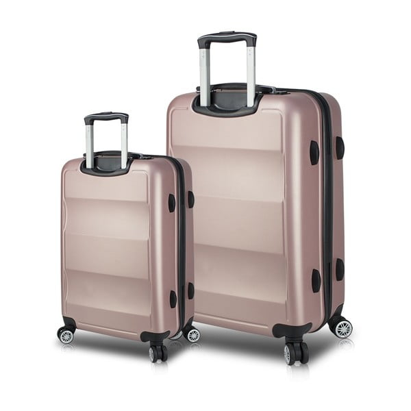 Set 2 valize cu roți și port USB My Valice LASSO Cabin & Large, roz