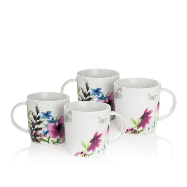 Sada 4 porcelánových hrnků Sabichi Lydia,360ml