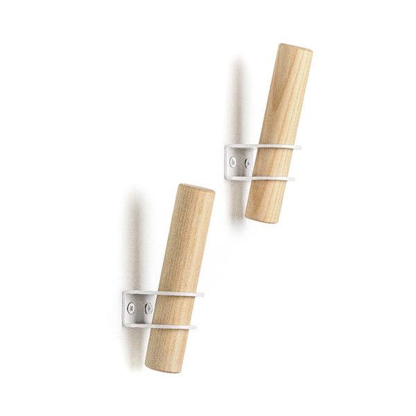 Sada 2 háčikov z jaseňového dreva s bielym držiakom EMKO Torch