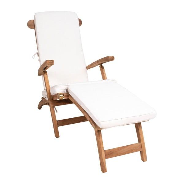 Venkovní lehátko z teakového dřeva s bílým bavlněným sedákem House Nordic Arrecife