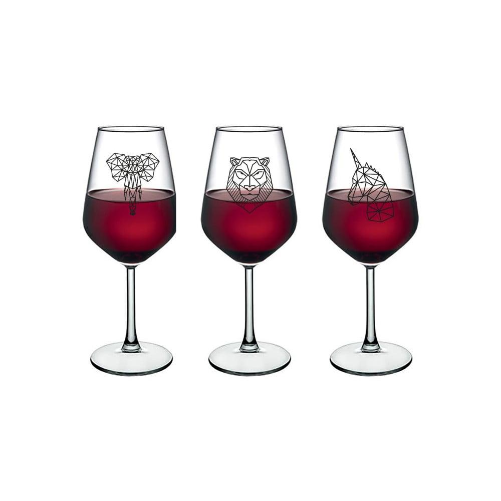 Sada 4 sklenic na víno Vivas Polygonal Animal Figure, 345 cm