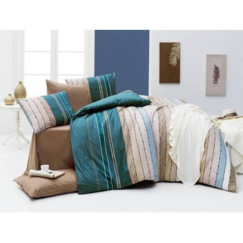 Lenjerie de pat cu cearșaf Rulling Sea, 200 x 220 cm de la Nazenin Home