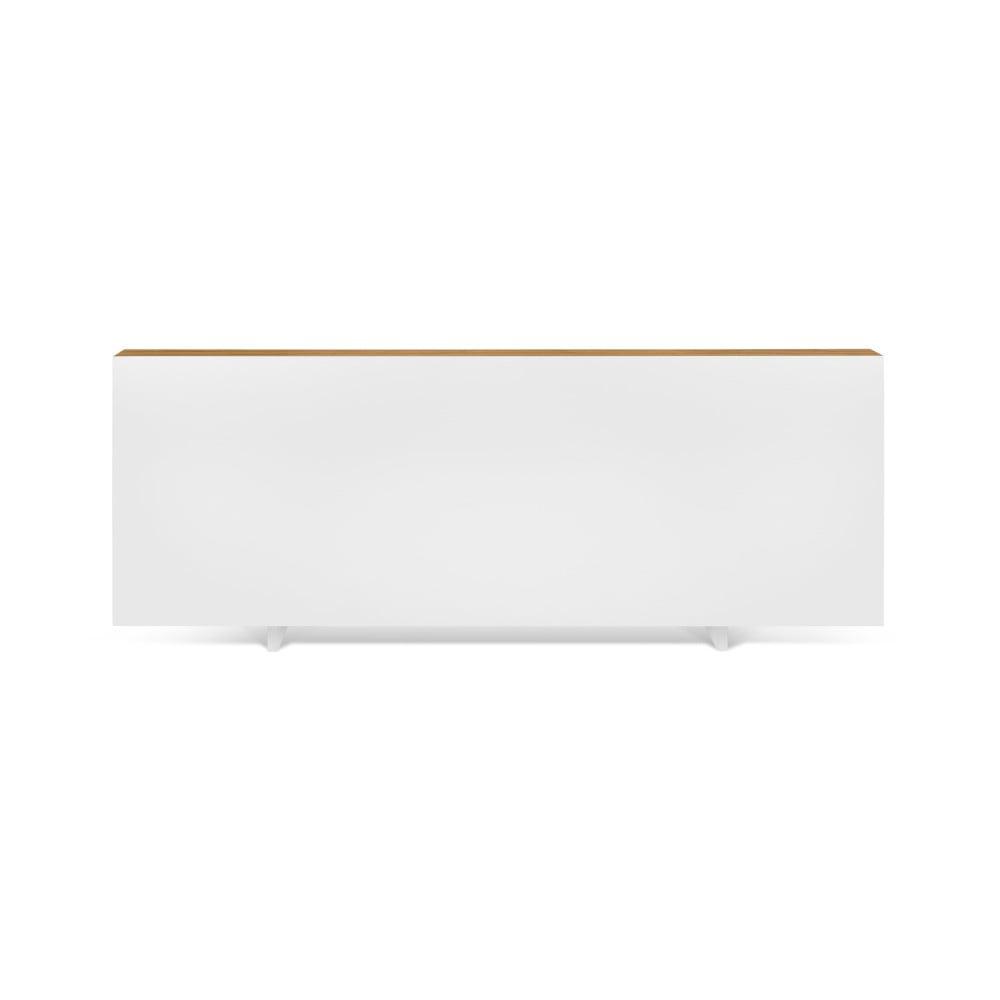Bílá postel s hnědými hranami TemaHome Float, 180x200cm