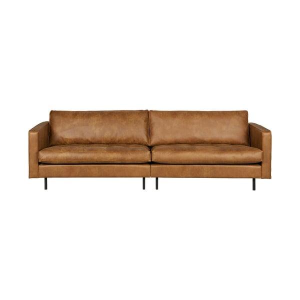 Rodeo konyakbarna háromszemélyes kanapé, újrahasznosított bőrből - BePureHome