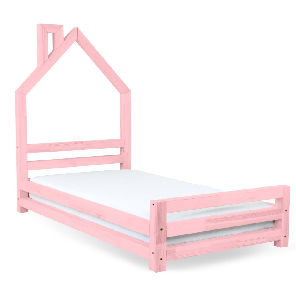 Dětská růžová postel z borovicového dřeva Benlemi Wally, 80 x 160 cm