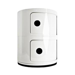 Bílý kontejner se 2 zásuvkami Kartell Componibili