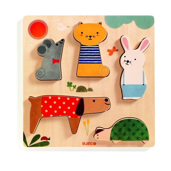 Detské vkladacie drevené puzzle s motívmi domácich maznáčikov Djeco