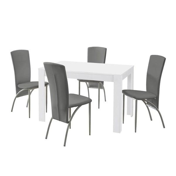 Set jídelního stolu a 4 šedých jídelních židlí Støraa Lori Nevada White Light Grey