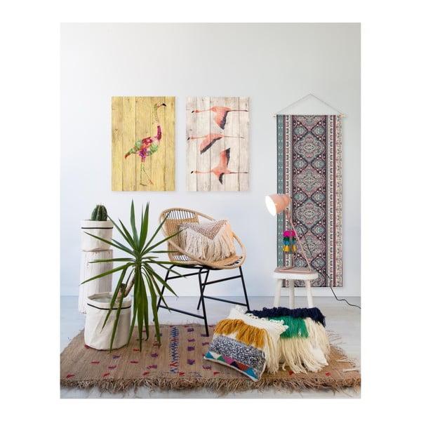 Nástěnná dekorace z borovicového dřeva Madre Selva Flowers Flamingo, 60 x 40 cm