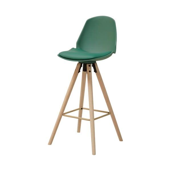 zlená barová stolička s podnožím z dubového dreva Actona Oslo I.