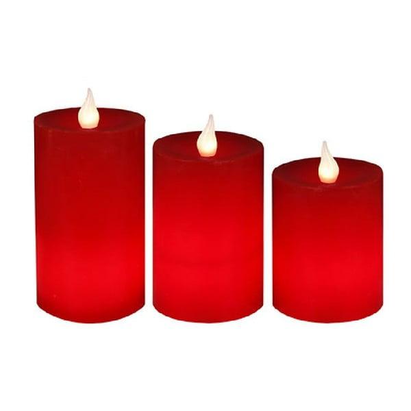 Sada 3 LED svíček s dálkovým ovladačem Best Season Red