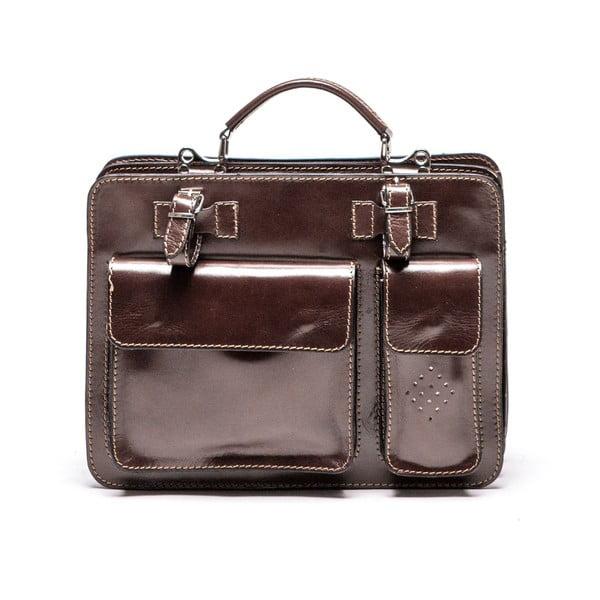 Tmavě hnědá kožená kabelka Luisa Vannini Gianna