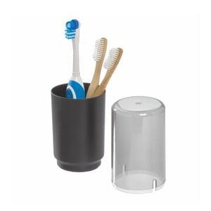 Černý kelímek na zubní kartáčky s poklopem iDesign Austin