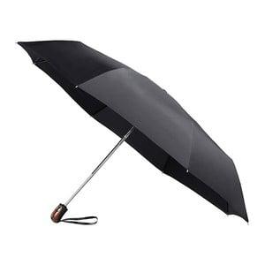 Černý větruodolný skládací deštník Ambiance Bois Minimal, ⌀98cm