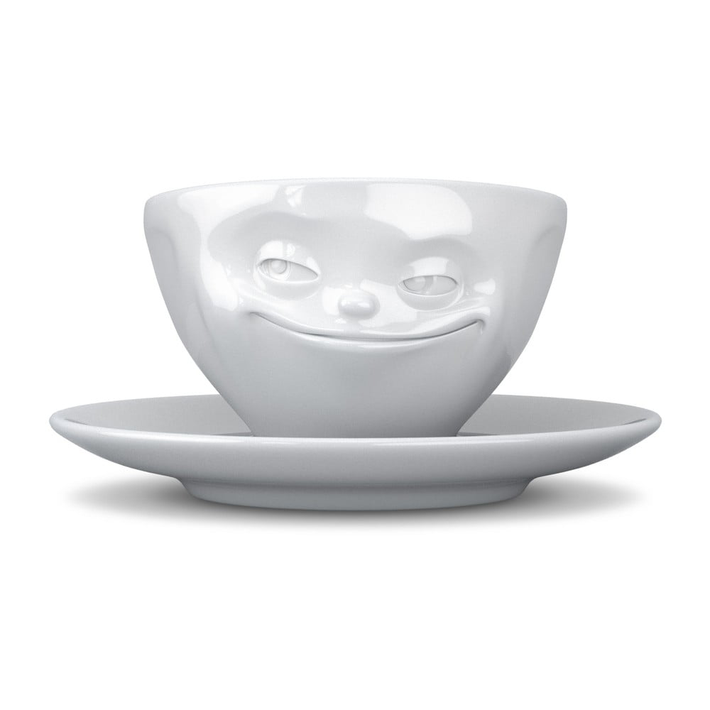 Bílý usměvavý hrnek na kávu 58products