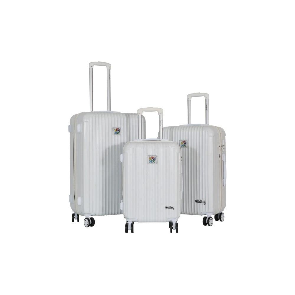 Sada 3 bílých cestovních kufrů LULU CASTAGNETTE Darwin