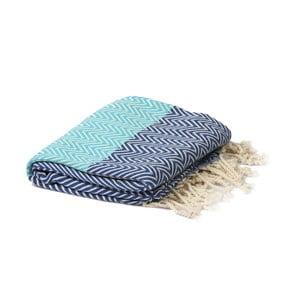 Tyrkysovo-modrý hammam ručník Spa Time Zig, 95x180cm