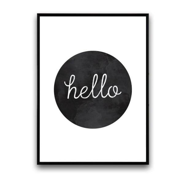 Plakát v dřevěném rámu Hello Black, 38x28 cm
