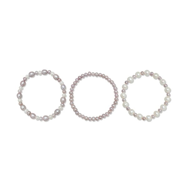Náramek Pure Pearls Violet Shades, 3 ks