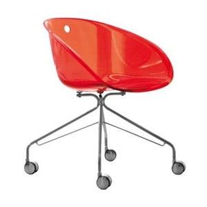 Červená židle na kolečkách Pedrali Gliss