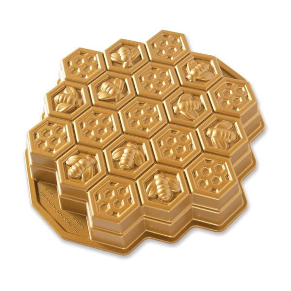 Forma na pečenie v zlatej farbe Nordic Ware Včelí plástev, 2,4 l