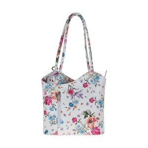Bílá kožená kabelka s květinovým vzorem Pitti Bags Maude