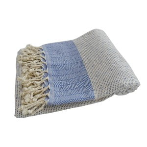Prosop țesut manual din bumbac premium Nefes, 100 x 80 cm, albastru - alb