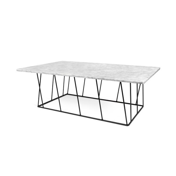 Bílý mramorový konferenční stolek s černými nohami TemaHome Helix, 120 cm