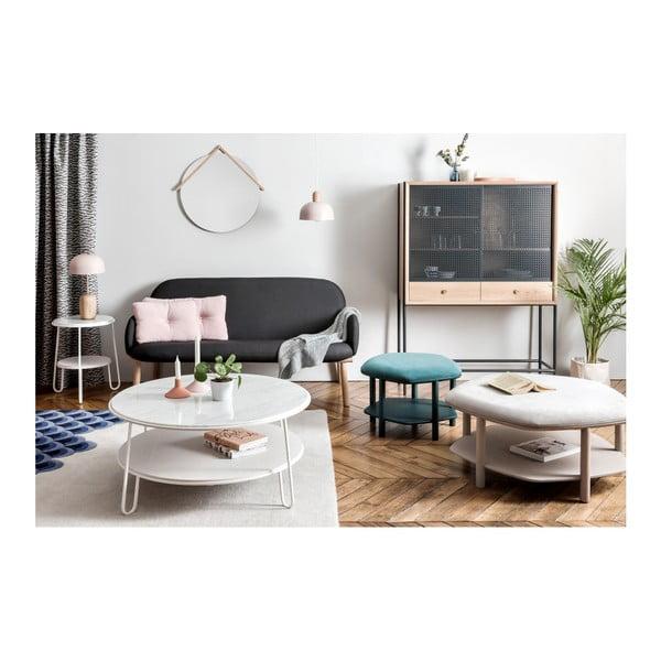 Bílý konferenční stolek s mramorovou deskou HARTÔ Eugénie, ⌀ 90cm