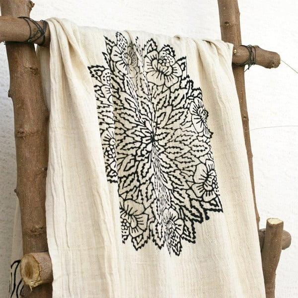 Hamam osuška Cloth Black Printed, 90x180 cm