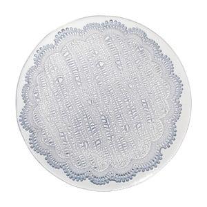 Modrý skleněný jídelní talíř Côté Table Tulle, 28cm