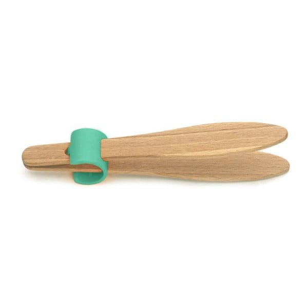 Kleště na toasty se zeleným detailem z bukového dřeva Jean Dubost Handy, délka 15 cm