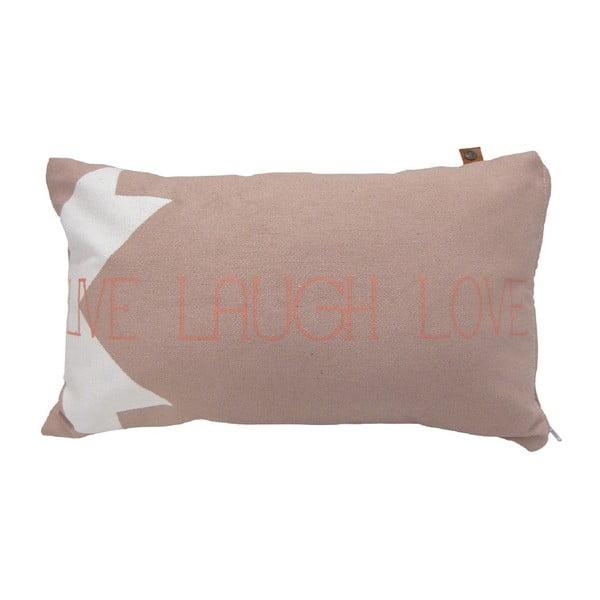 Růžový polštář OVERSEAS Live Laugh Love,30x50cm