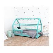 Tyrkysová dětská postel s bočnicí ze smrkového dřeva Benlemi Tery, 90 x 190 cm