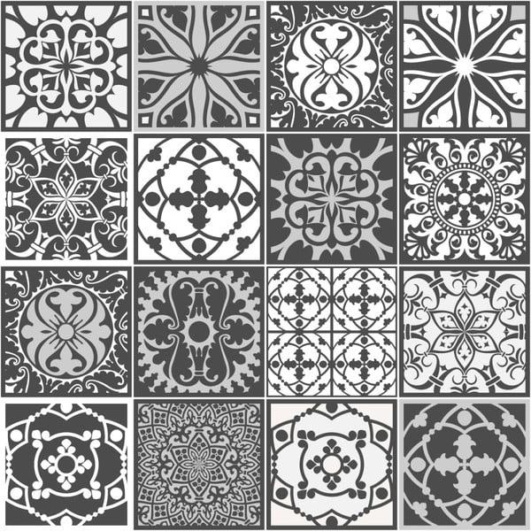 Sada 16 dekoratívnych samolepiek na stenu Ambiance Noir, 10×10 cm
