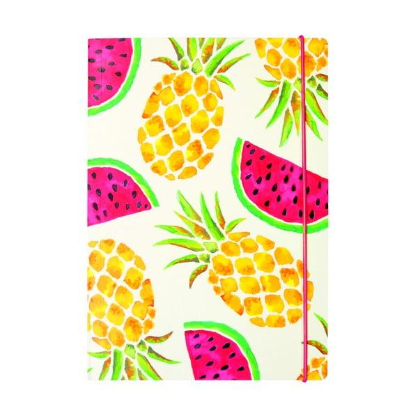 Linkovaný zápisník B5 Portico Designs Pineapple And Watermelon, 80 stránek