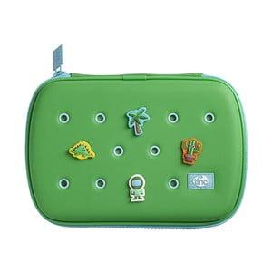Zelený penál se 4 ozdobnými odznáčky TINC Buds