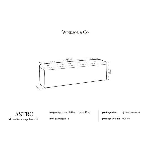 Tmavě šedý otoman s úložným prostorem Windsor & Co Sofas Astro, , 140 x 47 cm