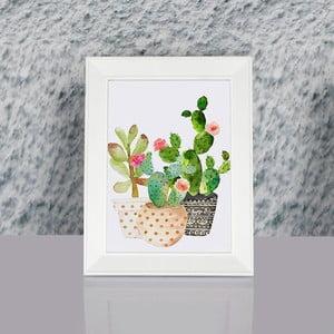 Zarámovaný obraz Dekorjinal Pouff Succulents, 23x17cm