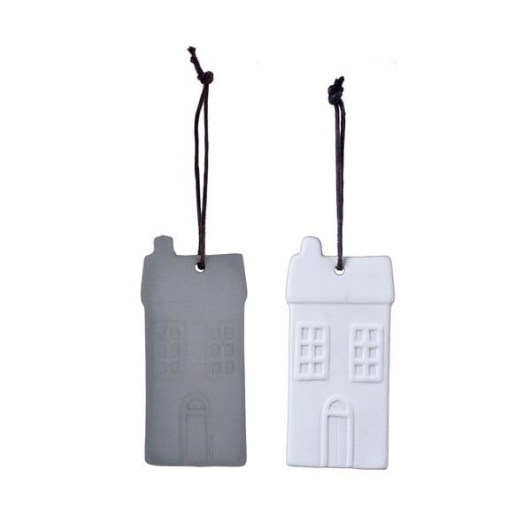 Set 2 decorațiuni suspendate din porțelan în formă de casă Ego Dekor