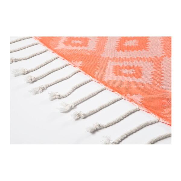 Oranžová hammam osuška z bavlněných a bambusových vláken Begonville Joy, 180x95cm