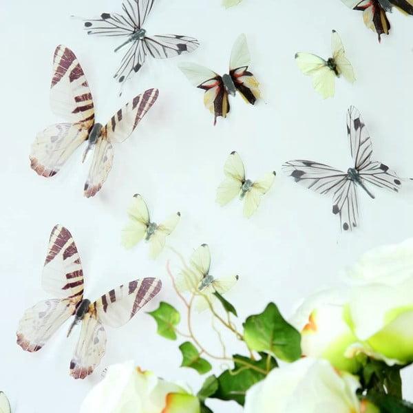 Trojrozměrné samolepky motýlků, barva bílá