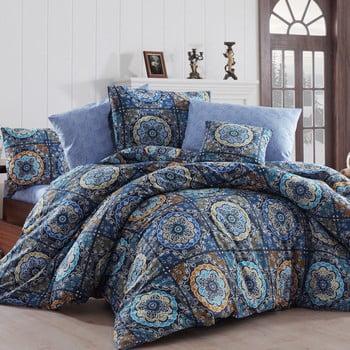 Lenjerie de pat cu cearșaf Ashley, 160 x 220 cm, albastru închis de la Nazenin Home