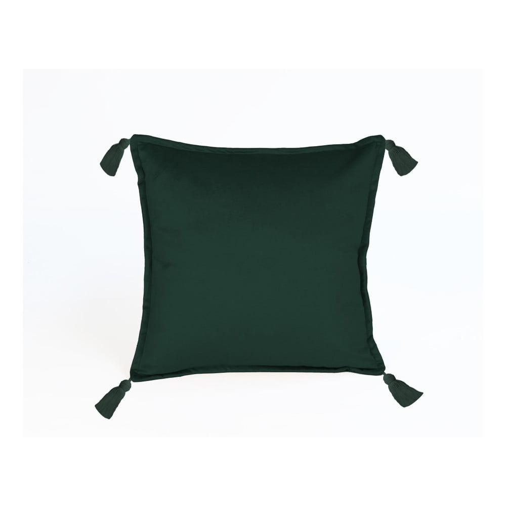 Zelený dekorativní polštář Velvet Atelier Pompos, 45 x 45 cm