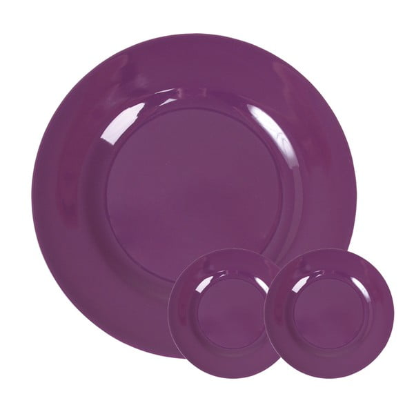Set tří talířů, 20 cm, purple